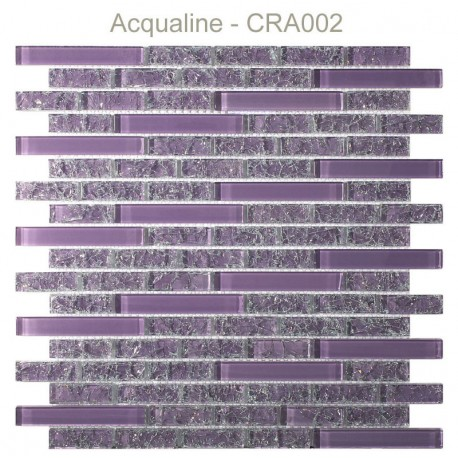 Mosaïque 29,8x30,5 en verre craquelé rose/violet (CRA002)