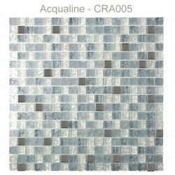 Mosaïque 30x30 en verre craquelé blanc gris alu (CRA005)