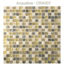 Mosaïque 30x30 en verre craquelé jaune marron pierre (CRA007)