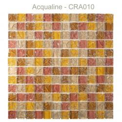 Mosaïque 30x30 en verre craquelé jaune marron pierre (CRA010)