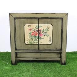 Buffet chinois patiné beige vert avec décor floral L88 (AG006)