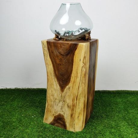 Socle en bois de suar pour décoration H70 (PSUAR-010)
