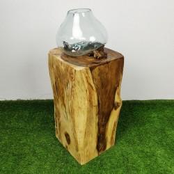 Socle en bois de suar pour décoration H70 (PSUAR-011)