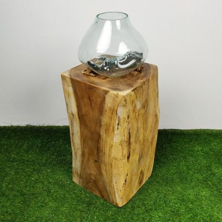 Socle en bois de suar pour décoration H70 (PSUAR-012)
