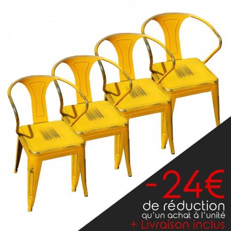 Lot de 4 chaises rétro en métal vieilli jaune (LOTRETRO-YELLOW)