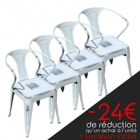 Lot de 4 chaises rétro en métal vieilli blanc (LOTRETRO-WHITE)