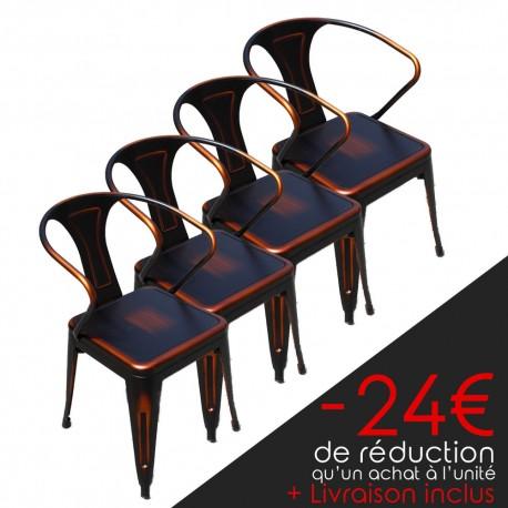 Lot de 4 chaises rétro en métal vieilli rouge et noir (LOTRETRO-REDBLACK)