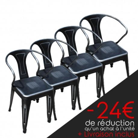 Lot de 4 chaises rétro en métal vieilli gris (LOTRETRO-SILVER)