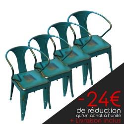 Lot de 4 chaises rétro en métal vieilli peacock (LOTRETRO-PEACOCK)
