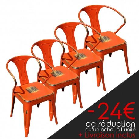 Lot de 4 chaises rétro en métal vieilli orange (LOTRETRO-ORANGE)
