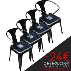 Lot de 4 chaises rétro en métal vieilli noir (LOTRETRO-BLACK)