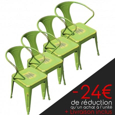 Lot de 4 chaises rétro en métal vieilli vert jaune (LOTRETRO-YELLOWISH-GREEN)