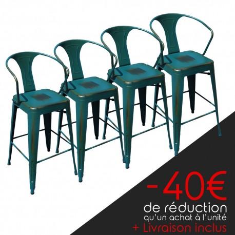 Lot de 4 tabourets rétro en métal vieilli bleu vert (LOT-TABOURET-RETRO-PEACOCK)