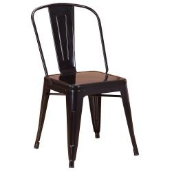 Chaise en métal 718C Noir brillante (FLASH-BLACK)