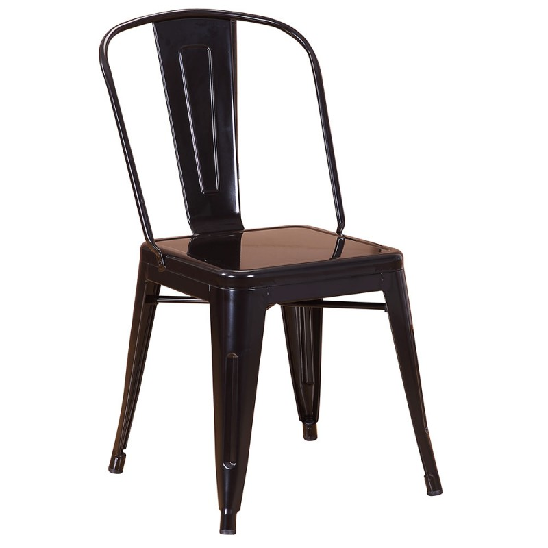 chaise en m tal 718c noir brillante. Black Bedroom Furniture Sets. Home Design Ideas