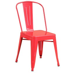 Chaise en métal 718C Rouge brillante (FLASH-RED)