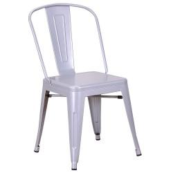Chaise en métal 718C Grise brillante (FLASH-SILVER)
