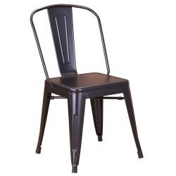 Chaise en métal 718C Noir mat (MATTE-BLACK)
