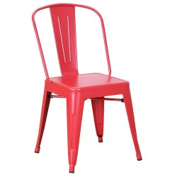 Chaise en métal 718C Rouge mat (MATTE-RED)