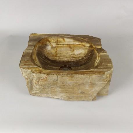 Vasque à poser 40-31 cm en bois pétrifié fossilisé (FOSS35-030YL)