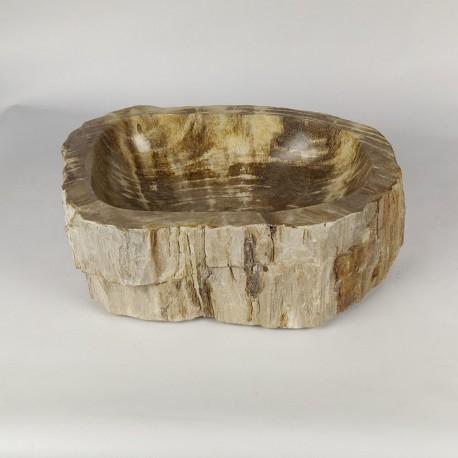 Vasque à poser 44-33 cm en bois pétrifié fossilisé (FOSS45-038YL)
