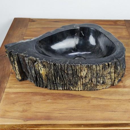 Vasque à poser 50-33 cm en bois pétrifié fossilisé intérieur noir (FOSS35-040BK)