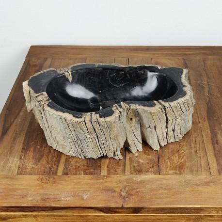 Vasque à poser 49-28 cm en bois pétrifié fossilisé intérieur noir (FOSS35-042BK)