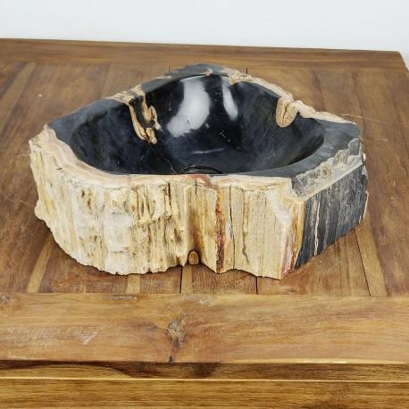 Vasque à poser 40-31 cm en bois pétrifié fossilisé intérieur noir (FOSS35-044BK)