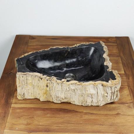 Vasque à poser 50-33 cm en bois pétrifié fossilisé intérieur noir (FOSS45-040BK)