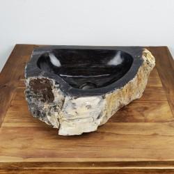 Vasque à poser 50-37 cm en bois pétrifié fossilisé intérieur noir (FOSS45-041BK)