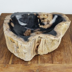 Vasque à poser 47-42 cm en bois pétrifié fossilisé intérieur noir (FOSS45-043BK)