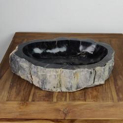 Vasque à poser 57-36 cm en bois pétrifié fossilisé intérieur noir (FOSS55-031BK)