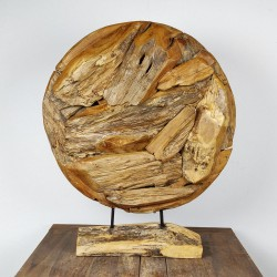 Art déco racine de teck brut ronde Ø70 cm (EROSI-NAT002)
