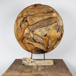 Art déco racine de teck brut ronde Ø70 cm (EROSI-NAT003)