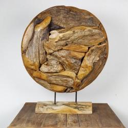 Art déco racine de teck brut ronde Ø70 cm (EROSI-NAT004)