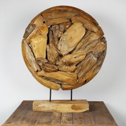 Art déco racine de teck brut ronde Ø70 cm (EROSI-NAT005)