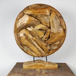 Art déco racine de teck brut ronde Ø70 cm (EROSI-NAT006)