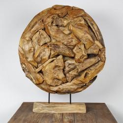 Art déco racine de teck brut ronde Ø70 cm (EROSI-NAT007)
