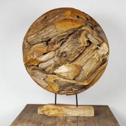 Art déco racine de teck brut ronde Ø70 cm (EROSI-NAT008)