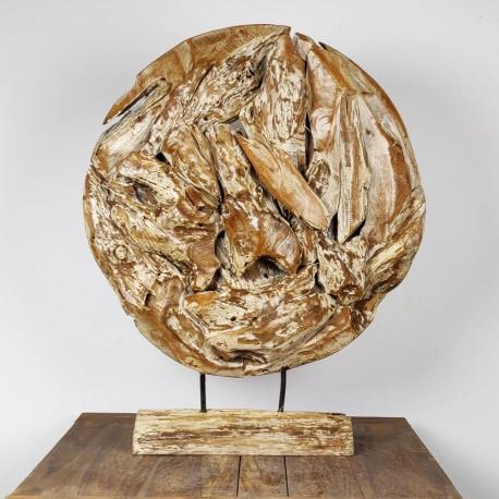 Art déco racine de teck cérusé ronde Ø70 cm (EROSI-CER001)