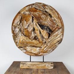 Art déco racine de teck cérusé ronde Ø70 cm (EROSI-CER002)