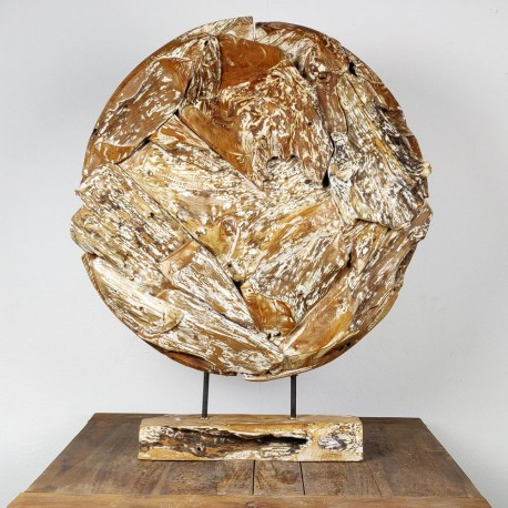 Art déco racine de teck cérusé ronde Ø70 cm (EROSI-CER003)