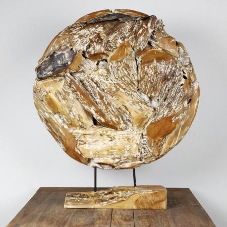 Art déco racine de teck cérusé ronde Ø70 cm (EROSI-CER004)