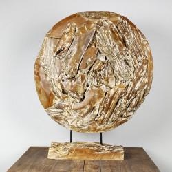 Art déco racine de teck cérusé ronde Ø70 cm (EROSI-CER005)