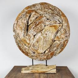 Art déco racine de teck cérusé ronde Ø70 cm (EROSI-CER006)