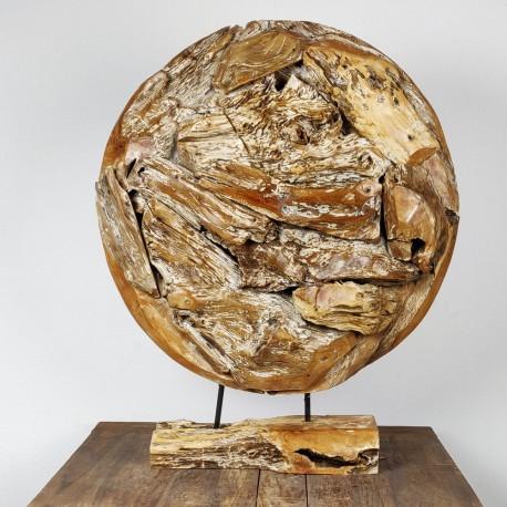 Art déco racine de teck cérusé ronde Ø70 cm (EROSI-CER007)