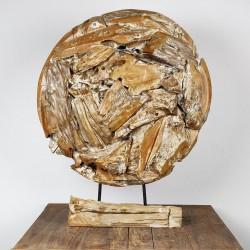 Art déco racine de teck cérusé ronde Ø70 cm (EROSI-CER008)