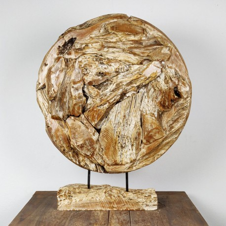 Art déco racine de teck cérusé ronde Ø70 cm (EROSI-CER009)