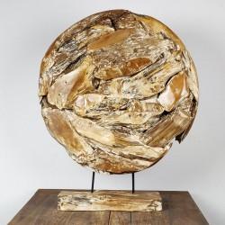Art déco racine de teck cérusé ronde Ø70 cm (EROSI-CER010)