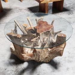 Table basse ronde racine de teck + verre Ø90 cm